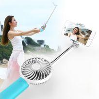 Wewoo - Ventilateur Usb bleu portatif Usb 2 en 1 avec trois vitesse du vent réglable + fil Monopode pliable Poche portative extensible Selfie Stick avec sangle de silicone, longueur pliée: 22cm, max. De l'extension: 60cm