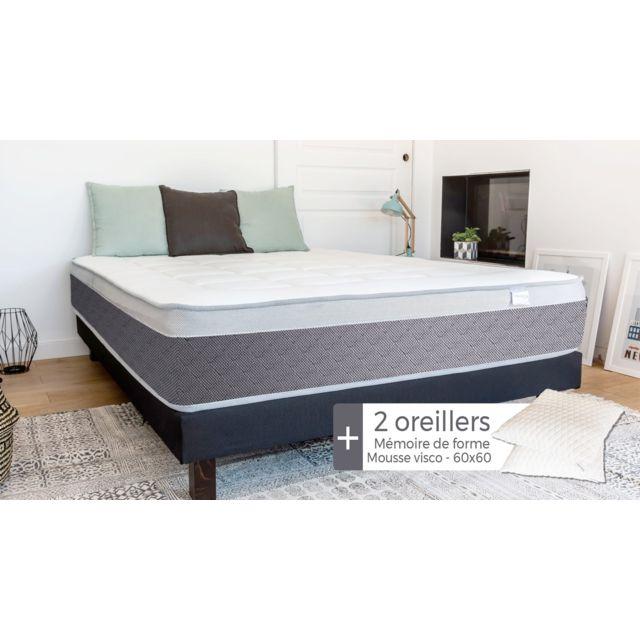 HBEDDING Matelas ressorts ensachés 180x200 Ergo Spring + 2 oreillers à mémoire de forme 60x60cm