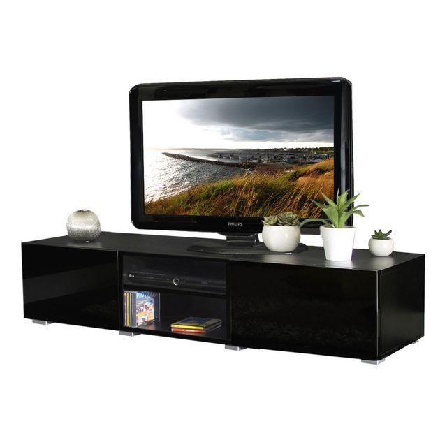 symbiosis meuble tv 2 niches 2 tiroirs en bois l140xp42xh31cm glossy noir pas cher achat. Black Bedroom Furniture Sets. Home Design Ideas