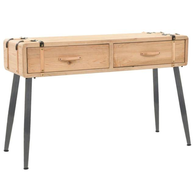 Vidaxl Bois Massif de Sapin Table Console 115x40,5x76 cm Entrée Couloir Salon