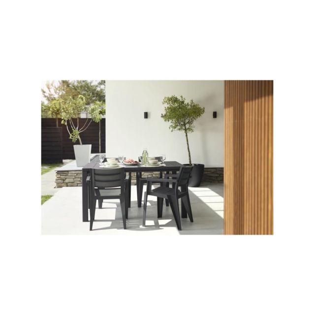 Allibert-jardin Table imitation bois Allibert 4 a 6 personnes Julie Graphite
