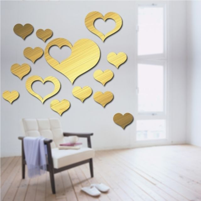 Wewoo   Sticker Mural Or 5 En 1 Amour Forme Miroir Art Décor Stickers Muraux  Salon