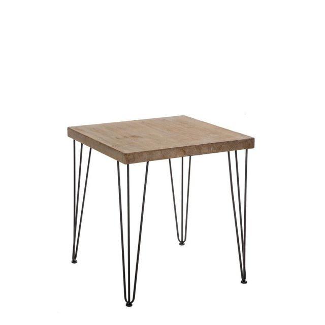 Ma Maison Mes Tendances Table basse carrée en bois naturel et pieds en métal Jersey - L 70 x l 70 x H 75