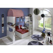 Pegane - Lit mezzanine avec lit gigogne en Mdf blanc, Habillage de lit et  tunnel cc10ac9c90c7