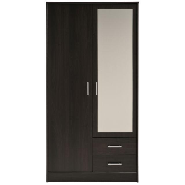 Last Meubles - Armoire Orizon 2 portes, 2 tiroirs Brun - 50cm x 180cm x 90.5cm