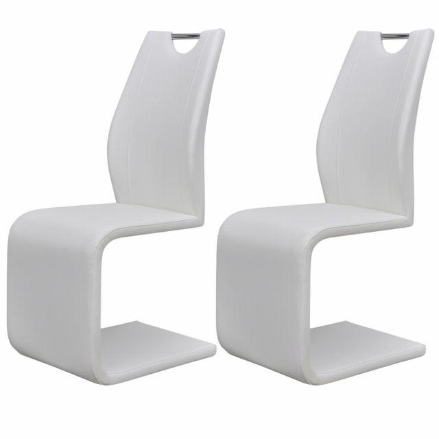 Casasmart Lot de 2 chaises moderne en simili cuir blanc