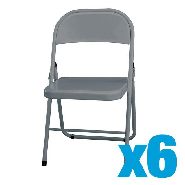 Plus adapté CARREFOUR HOME - Lot de 6 Chaise pliante - Métal - Gris clair PO-99