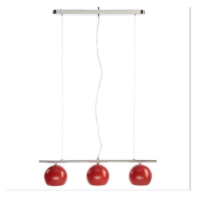 Cher Suspension Achat En Jja Métal Rouge 3 Lampes Coloris Pas nOkN80wPX