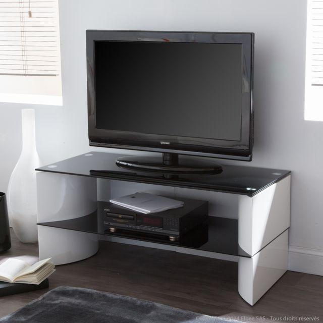 Meuble Tv Bas En Bois Et Verre Avec Niche Longueur 100cm Blanc Noir