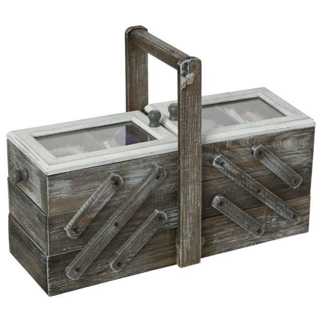 Atmosphera - Boîte à couture en bois Escalier - 43 x 28 cm - Gris
