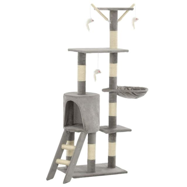 Icaverne - Meubles pour chats ligne Arbre à chat avec griffoirs en sisal 138 cm Gris