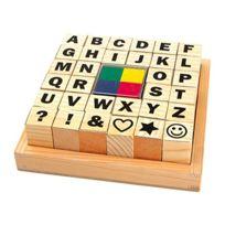 Equilibre et aventure - Kit De 32 Tampons Alphabet Et Signes Avec 4 Petits Tampons Encreurs ColorÉS