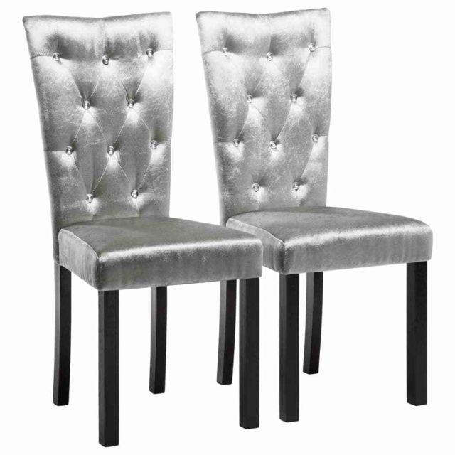 Chaise de salle à manger 2 pcs Velours Argenté MeublesFauteuilsChaises de cuisine et de salle à manger | Argent | Argent