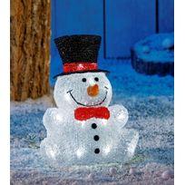 No Name - Bonhomme de neige avec chapeau extérieur Ip44 sans branchement électrique - Autonome avec Timer - 30 Led blanches