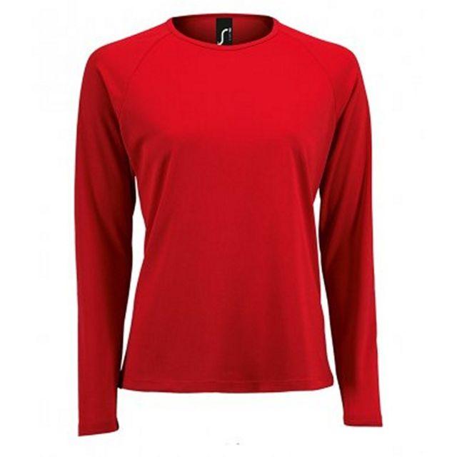 SOL Sols - T-shirt manches longues Performance - Femme 2XL, Rouge Utpc3131