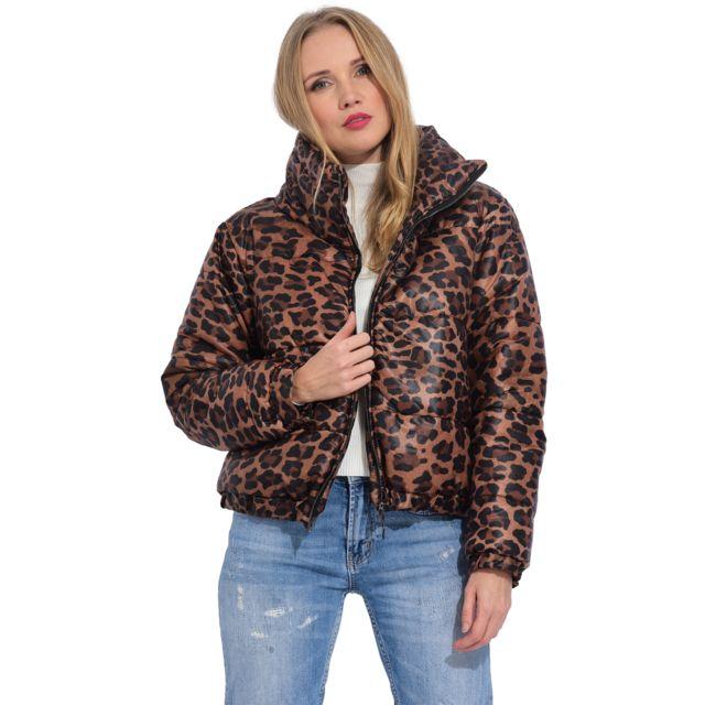 Arty Blush Doudoune courte imprimé léopard