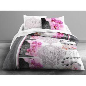 today parure housse de couette 240x220cm taies 100 coton fleur cerisier bouddha rose zen. Black Bedroom Furniture Sets. Home Design Ideas