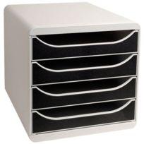 Exacompta - 1 Big Box caisson 4 tiroirs. Coloris Gris / Noir