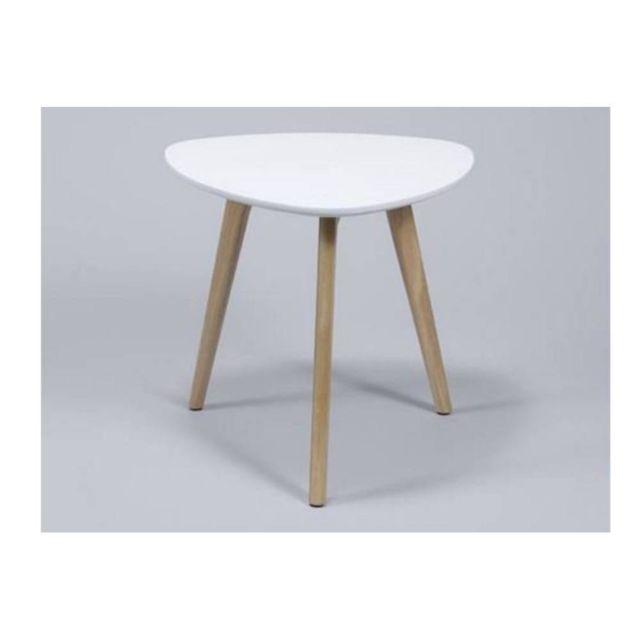 Inside 75 Table d'appoint Mignone design blanche avec piétement en chêne massif