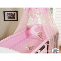 Autre - Lit et Parure de lit bébé bonne nuit rose ciel de lit mousseline avec top coton 120 60