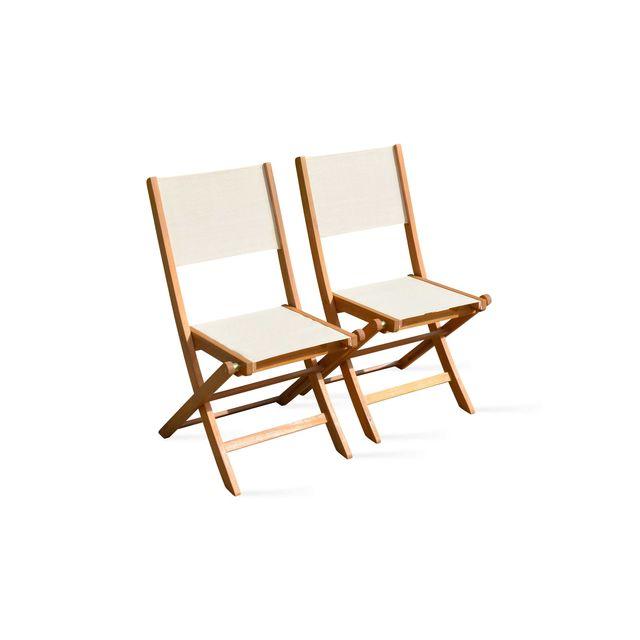 oviala chaises pliantes de jardin en bois sable pas. Black Bedroom Furniture Sets. Home Design Ideas