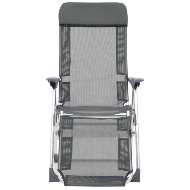 Chaises de camping pliables 2 pcs et repose pied Gris Aluminium