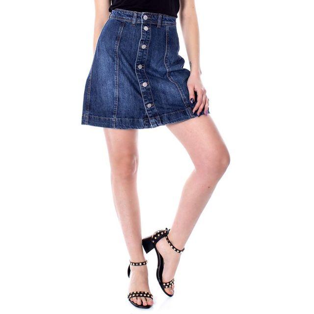 JACQUELINE DE YONG Sara Femme Jupe en jean Bleu Multicouleur 38