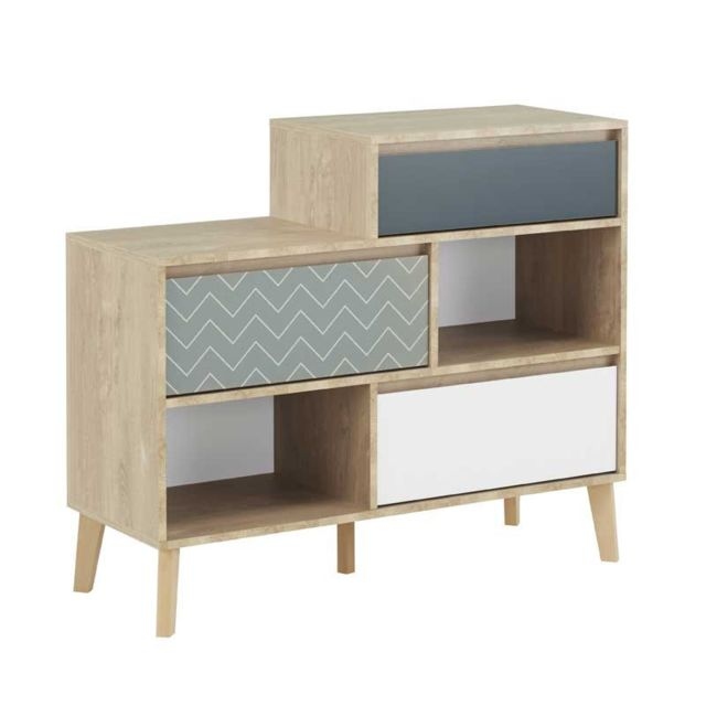 Tousmesmeubles Commode 3 tiroirs 2 niches Chêne blond/Bleu/Blanc - Esmey