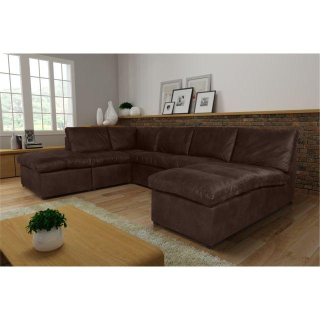 Rocambolesk Canapé d'angle Avanti Flexi L2A1P tobago 14 brun sofa divan