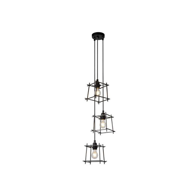 Lucide - Suspension cascade 3 lumières en métal filaire noir diamètre 26cm Edgar