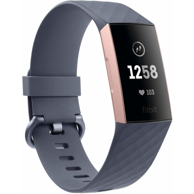 Fitbit Charge 3 Advanced Fitness Tracker avec fréquence cardiaque, suivi de la natation et batterie 7 jours - Rose-Or / grise,