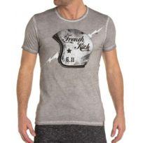 French Kick - T-shirt gris imprimé casque moto