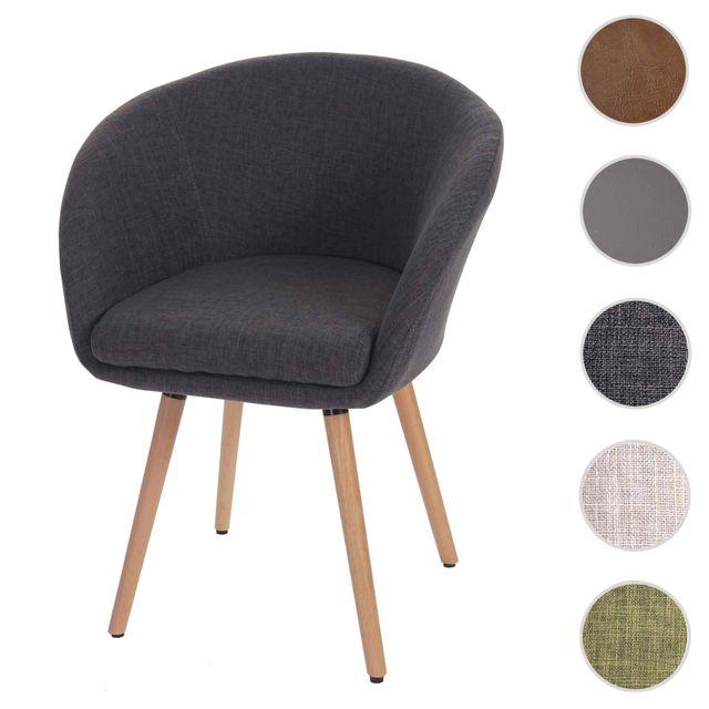 Mendler Chaise de salle à manger Malmö T633, fauteuil, design rétro des années 50 ~ tissu, gris