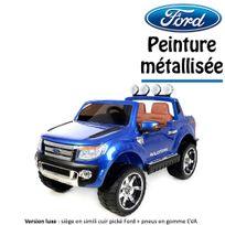Ford - 4x4 voiture quad électrique enfant peinture métallisée 2 places 12 V bleu version luxe métal