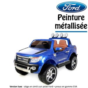 ford 4x4 voiture quad lectrique enfant peinture m tallis e 2 places 12 v bleu version luxe. Black Bedroom Furniture Sets. Home Design Ideas