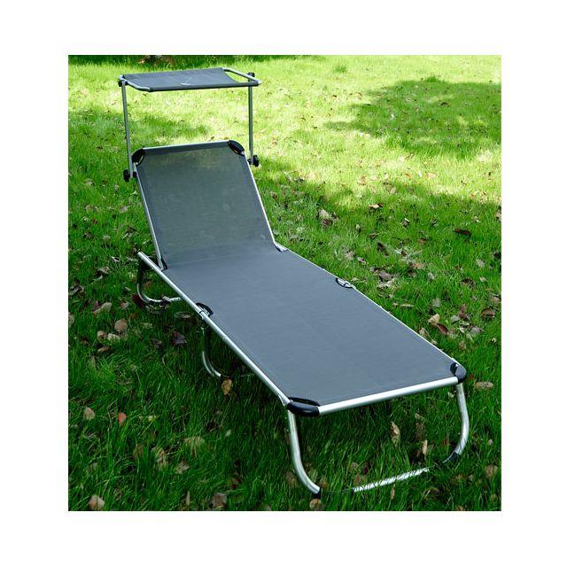 homcom chaise longue transat bain de soleil pliant avec pare soleil en aluminium gris pas. Black Bedroom Furniture Sets. Home Design Ideas