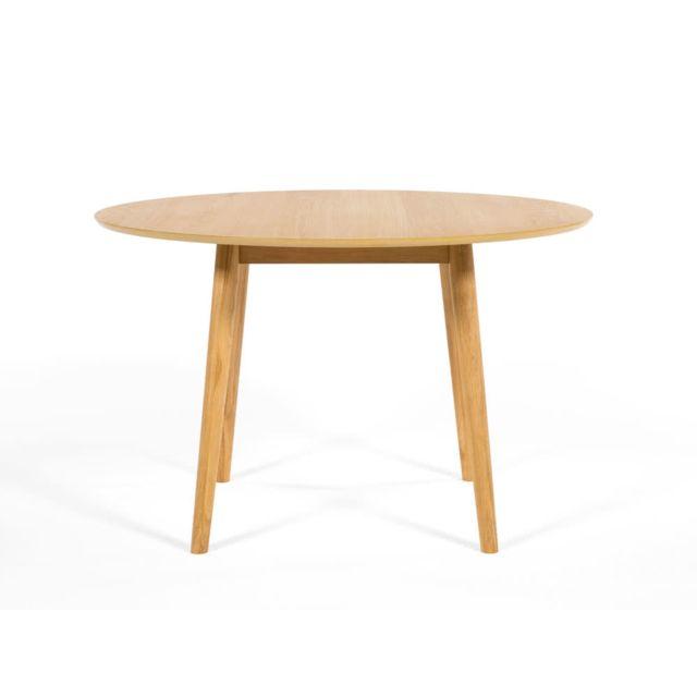 Kaligrafik Table à manger ronde bois massif Diamètre 120cm Nagano