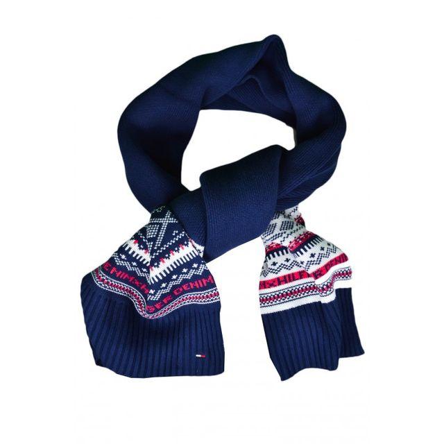 Tommy Hilfiger - Echarpe à motifs bleu marine pour homme - pas cher Achat    Vente Echarpes - RueDuCommerce 087fd1b1fee
