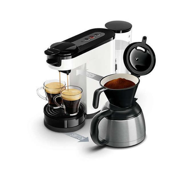 PHILIPS Machine à café à dosettes et filtre Senseo Switch HD7892/01