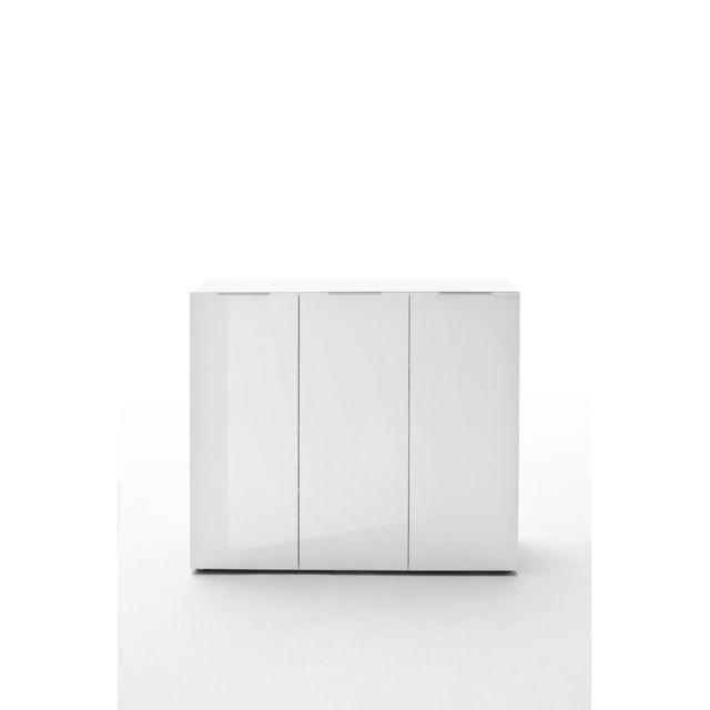 Pegane Commode avec 3 portes coloris laqué blanc brillant - L120 x H101 x P39 cm