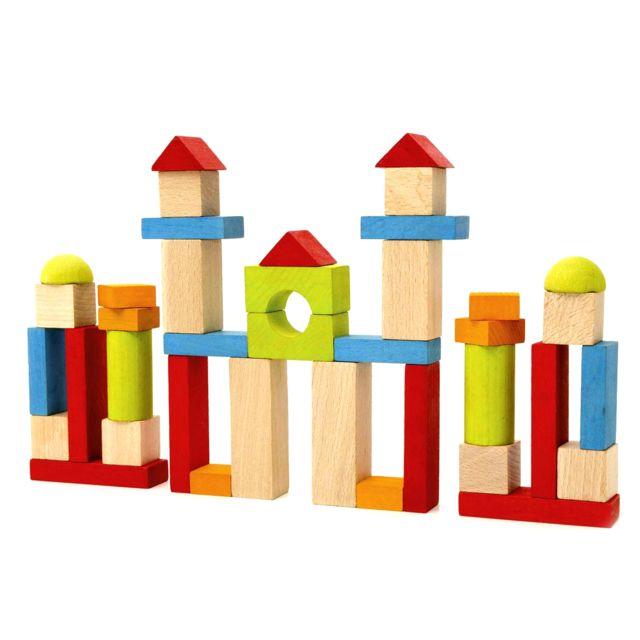 Jeujura Blocs de construction : 40 pièces en bois