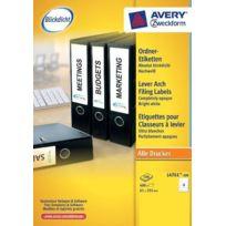 Avery - Zweckform L4761-100 Lot de 100 feuilles de 4 étiquettes pour classeurs 192 x 61 mm Blanc Import Allemagne