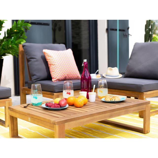 Dlm - Salon de jardin bas 4 places en acacia gris Movea ...