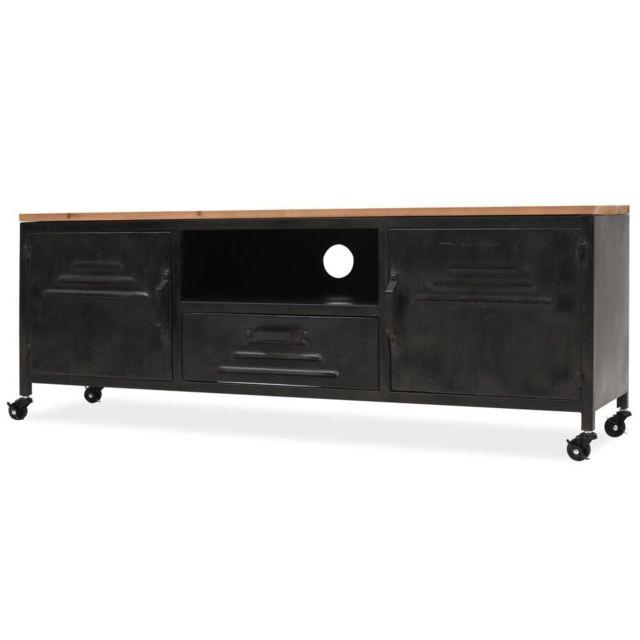 Helloshop26 Meuble télé buffet tv télévision design pratique 120 cm noir 2502045