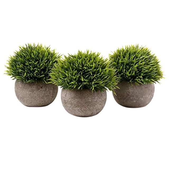 Lot de 3 Green Grass artificielle Bonsai Art Plante à gris Pot