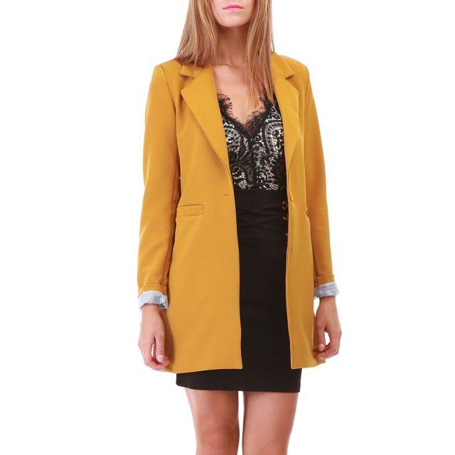 low cost available classic shoes Lamodeuse - Veste blazer jaune longue - pas cher Achat ...