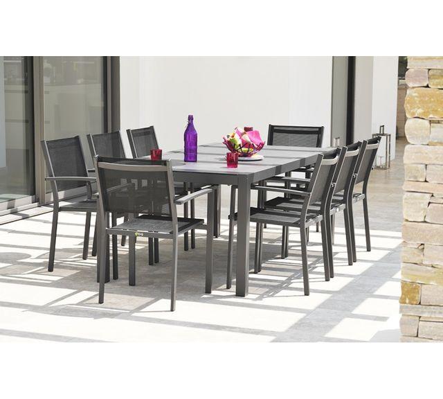 DCB GARDEN - Table en aluminium et plateau duranite noir 100cm x 200cm x 73cm