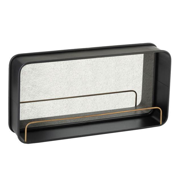 Tousmesmeubles Miroir avec étagère Métal noir - Ninove