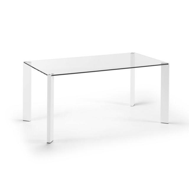 Kavehome Table Spot 160x90 cm, blanc et verre