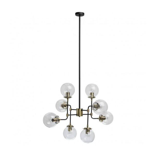 Luminaire Center Suspension noire Loft 8 ampoules 143 Cm